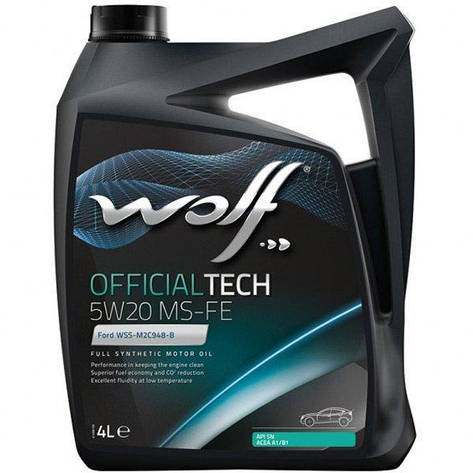 Моторное масло WOLF OFFICIALTECH 5W-20 MS-FE 4л, фото 2