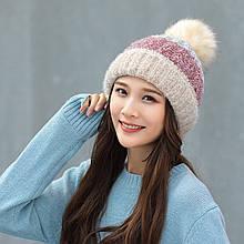Женская теплая зимняя шапка на меховой подкладке с бубоном помпоном бежевая - розовая - серая
