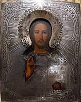 Икона Господь Вседержитель 19 век серебро 84 пр.