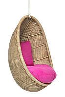 Подвесное кресло-качель кокон Cruzo Ирма из натурального ротанга Светло-коричневый pk13597, КОД: 741902