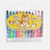 Автокарандаши восковые для рисования Azalea 12 цветов, пластик, Карандаши цветные, Карандаши восковые,  Карандаши для рисования