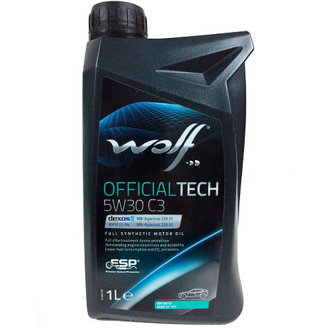 Моторное масло WOLF OFFICIALTECH 5W-30 C2/C3 1л, фото 2
