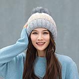Теплая зимняя женская шапка с меховой подкладкой и бубоном помпоном серая - бежевая - белая, фото 2