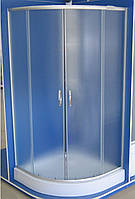 Кабина душевая полукруглая 9001-EC 90х90х195/ стекло Fabric/ поддон - 15cм ЕКОНОМ