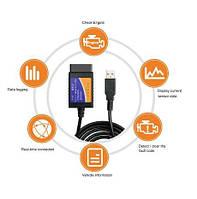 Диагностический шнур-сканер, OBD ELM327 USB 1.5v OBDII обд 2 сканер адаптер юсб