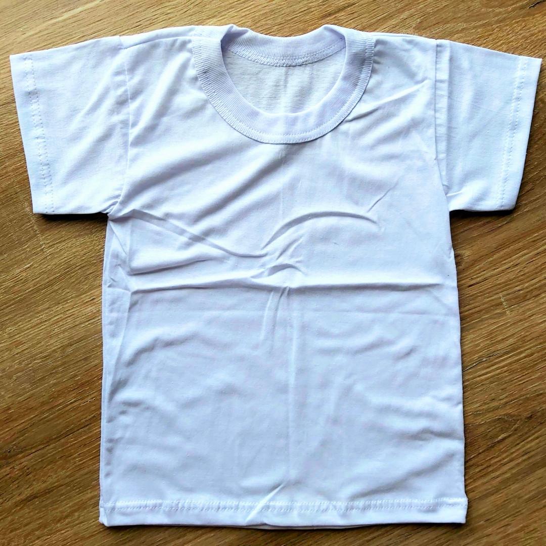 Дитяча біла футболка з кулира розміри 34 та 36