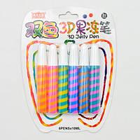 """Жидкий клей с блестками для рисования 3D """"Jelly Pen"""" 6шт, блистер, разные цвета, поливинилацетат, клей с блестками, наборы для творчества"""