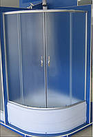 Кабина душевая полукруглая 9021-EC 90х90х195/ стекло Fabric/ поддон 40cм ЭКОНОМ
