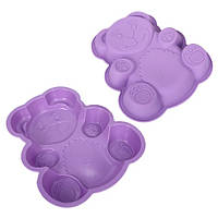 Форма для выпечки силиконовая Медведь размер 28х23х4см, фиолетовый, Посуда, Силиконовые формы для выпечки