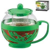 """Заварник стеклянный """"Тропик"""" Stenson MS-0047 объем 750 мл, зеленый, Стеклянные заварники, Посуда для чая и кофе, Чайник, Чайник заварник, заварник для"""