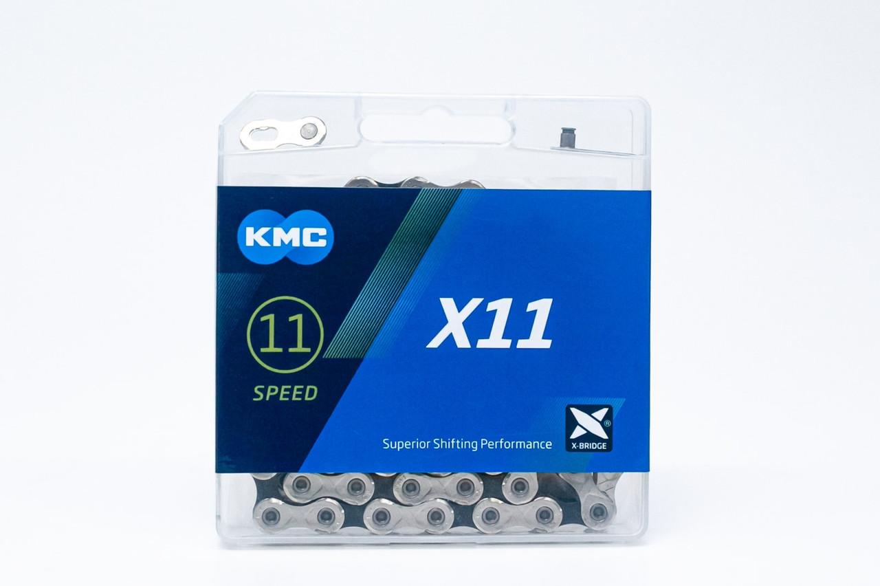 Цепь KMC X11 (silver/black) с замком, 118 зв.