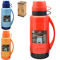 Термос пластиковый со стеклянной Stenson разные цвета, колбой 2 чашки, объем 1,8л, термос для жидкости, термос с кружкой, термос