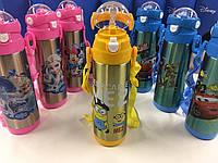 Термос детский Disney 9030-500, с поилкой и шнурком на шею, объем 500 мл, металл, разные расцветки, термокружка, термочашка, термос