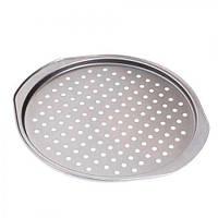"""Форма для пиццы с дырочками Stenson """"Proffi"""" размер d33х35,5х1,5см, металл, Форма для запекания, Противень"""