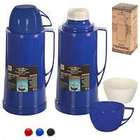 Термос пластиковый со стеклянной колбой Stenson разные цвета, объем 1,8л, термос для жидкости, термос с кружкой, термос
