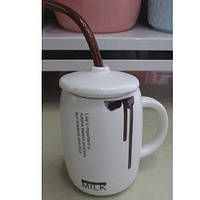 """Чашка с крышкой и трубочкой """"Milk"""" R86176 керамика / металл, чашки, кружка, посуда, столовая посуда, оригинальные чашки и кружки"""