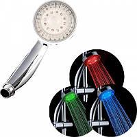 Насадка для душа LED SHOWER, 3 цвета (красный, зеленый, синий), насадка для подсветки воды из душа, светодиодная насадка для душа