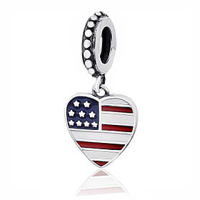"Серебряная бусина - "" I LOVE U.S.A."" П5/759"