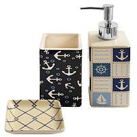 """Набор для ванной """"Морской"""" R82925, наборе 3пр, размер 20.5*20*7см, керамика, ванные принадлежности, набор в ванну, набор для ванны"""