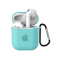 Чехол для AirPods/AirPods 2 silicone case with Apple Sea blue