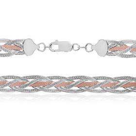 Серебряная цепь  позолоченная - коса 111А 2/45
