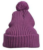 Молодежная зимняя шапка с подворотом и помпоном фиолетовая