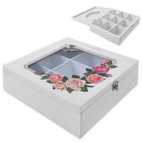 """Коробка для хранения чая """"Розы"""" R87216 белая, 9 отделений, мдф, кухонный инвентарь, коробочка для чая"""