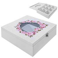 """Коробка для хранения чая """"Розы"""" R87217 белая, 9 отделений, мдф, квадратная, кухонный инвентарь, коробочка для чая"""