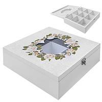"""Коробка для хранения чая """"Розы"""" R87218 белая, 9 отделений, мдф, квадратная, кухонный инвентарь, коробочка для чая"""