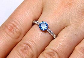 Кольцо серебро 925 проба 18 размер АРТ1242 Голубой