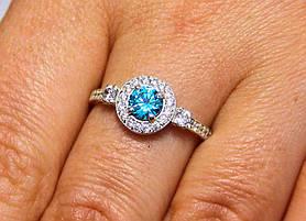 Кольцо серебро 925 проба 17 размер АРТ1186 Голубой