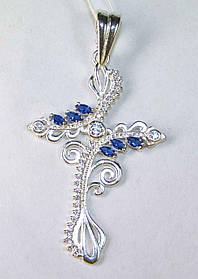 Крест Ажурный серебро 925 проба АРТ511 Синий