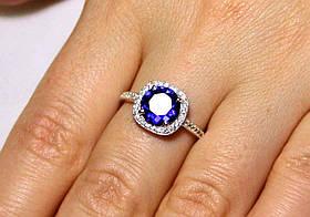 Кольцо серебро 925проба 17.5 размер АРТ1192 Синий