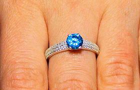 Кольцо серебро 925проба 16.5размер АРТ1184 Голубой