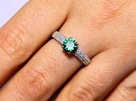 Кольцо серебро 925проба 16 размер АРТ1184 Зеленый