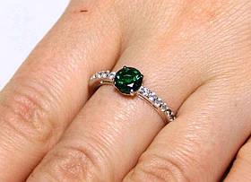 Кольцо серебро 925 проба 19 размер АРТ1242 Зеленый
