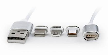Кабель Cablexpert (CC-USB2-AMLM31-1M), USB 2.0 - Lightning/Micro/Type-C USB, 1м, серебристый, фото 2