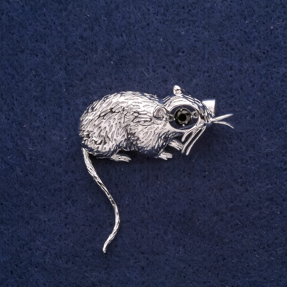 Брошь Крыса символ года 37х37мм серый металл