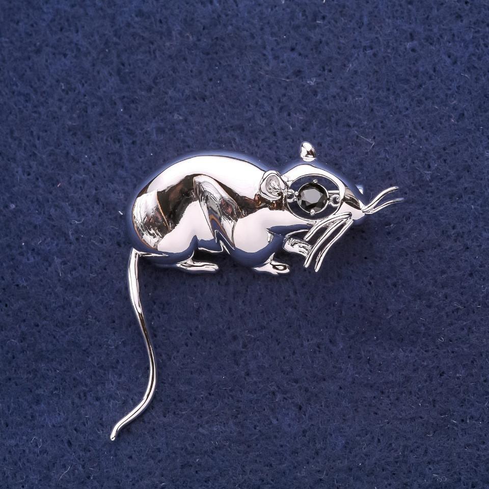 Брошь Крыса символ года 37х37мм белый металл