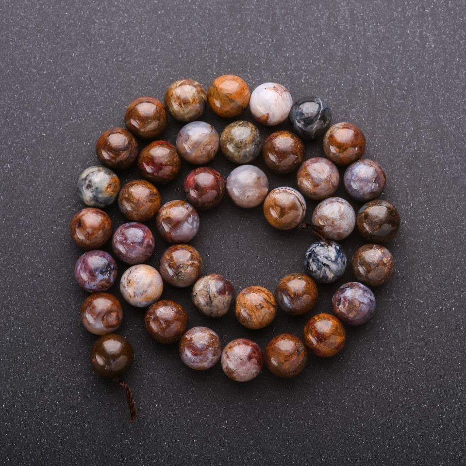 Бусины из натурального камня Яшма гладкий шарик d-10мм L-40см
