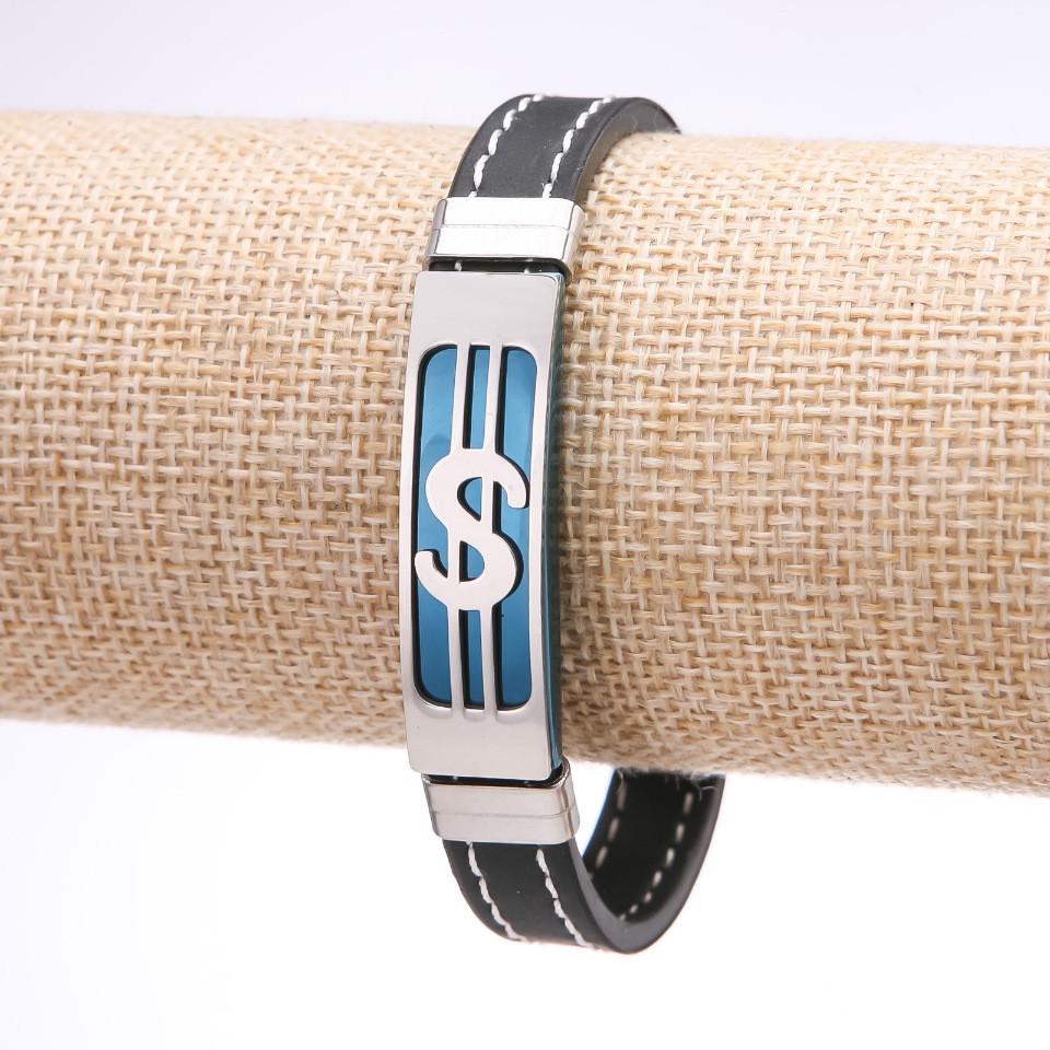 Браслет унисекс Доллар каучук строчка стальная планка синяя s-12мм L-20см