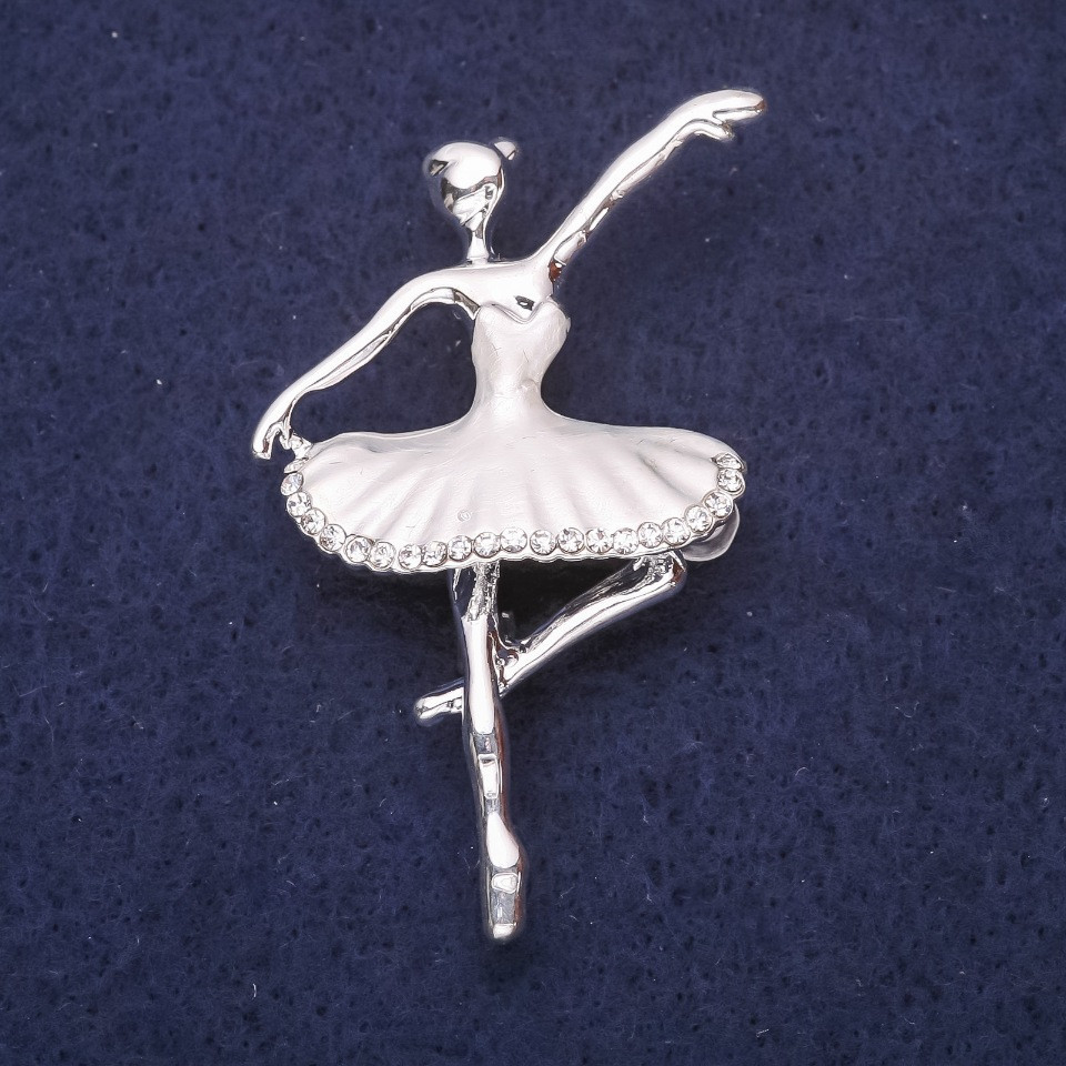 Брошь Балерина серая эмаль 50х32мм серебристый металл