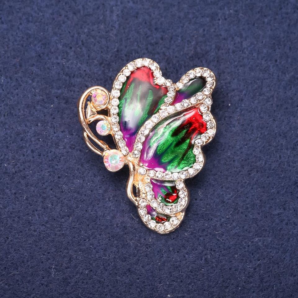Брошь Бабочка с белыми стразами красная, зеленая, фиолетовая эмаль 40х33мм желтый металл