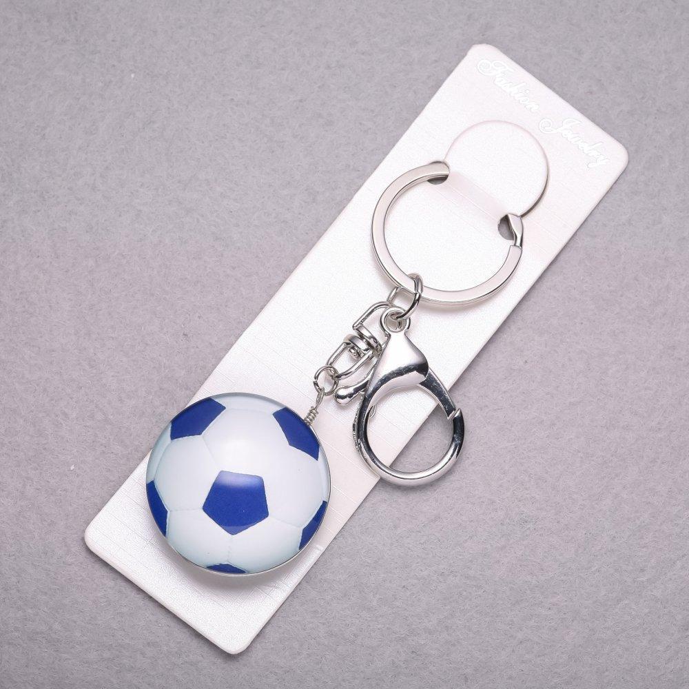 Брелок Спорт Футбольный мяч 3D синий L-10см