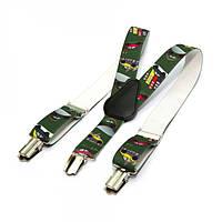 Детские Подтяжки Gofin suspenders С Машинками Темно-Зеленые Pbd-15005, КОД: 389958