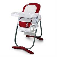 Стульчик детский для кормления с колесиками и подносом для детей с 6 месяцев до 3 лет (до 20 кг) красный