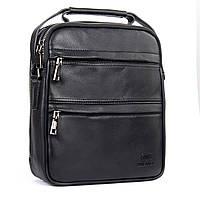 Мужская кожаная сумка  BRETTON BE 2016-4 черная два отделения и два кармана спереди 22х26х9см