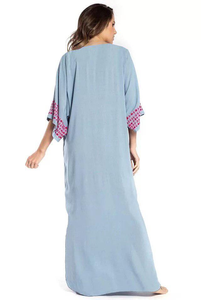 Туника-платье пляжная серого цвета с вышивкой