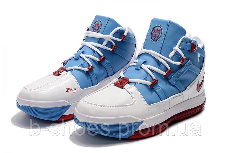 Мужские баскетбольные кроссовки  Nike LeBron Soldier 3 (White/blue)