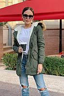 Куртка парка женская хаки